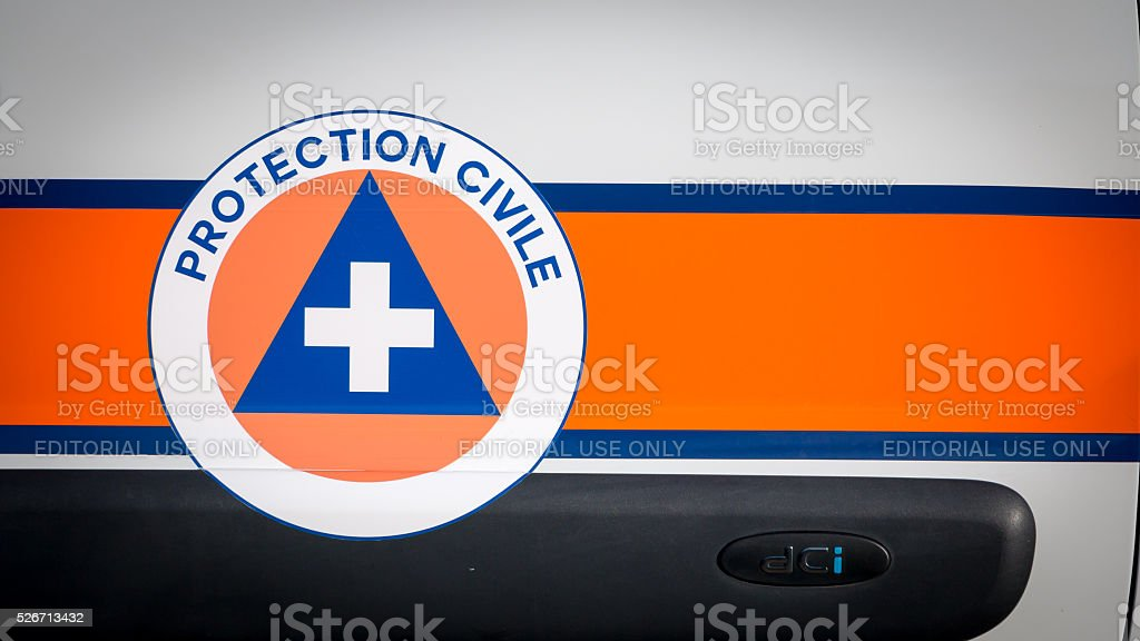 vehicle of the French civil protection stock photo