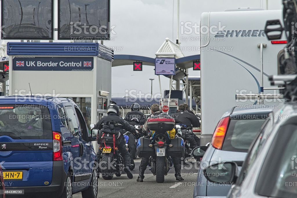 Vehicle queue at border control in Calais port,France stock photo