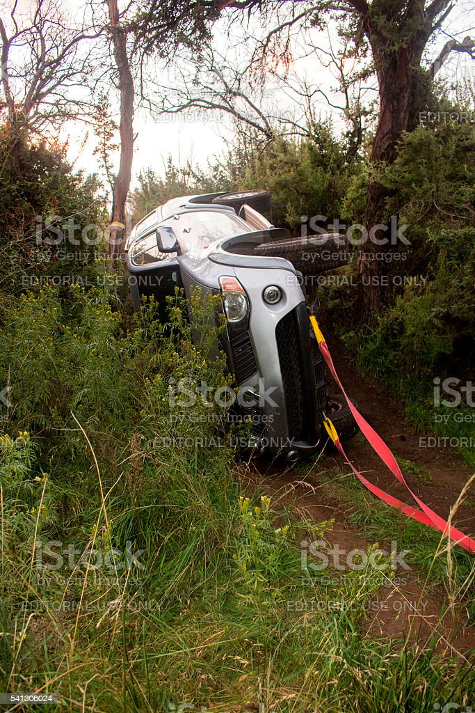 Vehicle recovery after doing off-road trail. stock photo