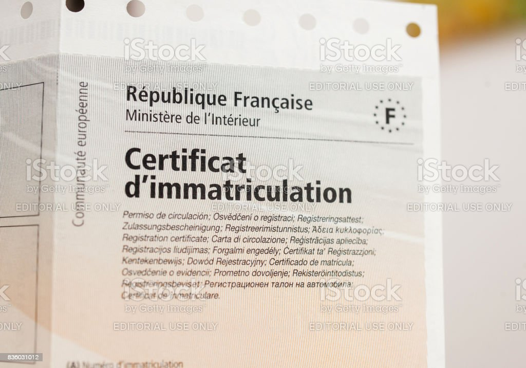 Vehicle registration certificate (certificat d'immatriculation known also as carte grise) stock photo