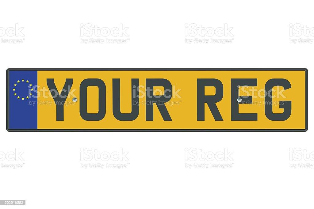 Vehicle registration plate stock photo