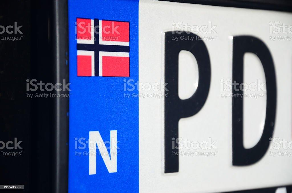Vehicle registration plates, Norway stock photo