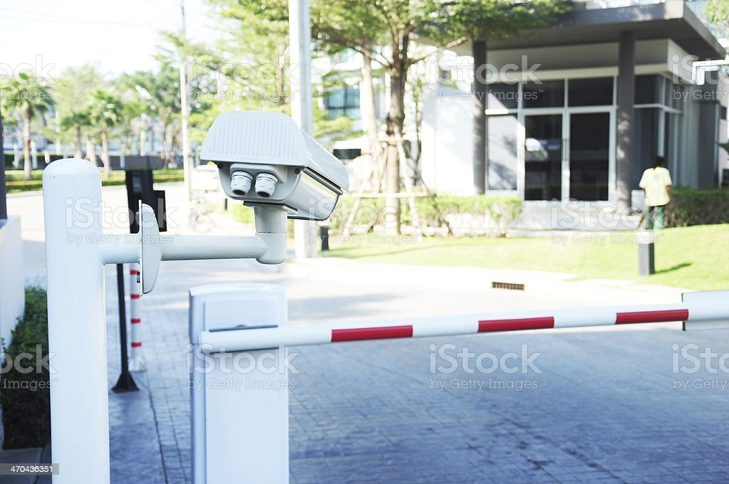 Vehicle Security Barriers with CCTV stock photo