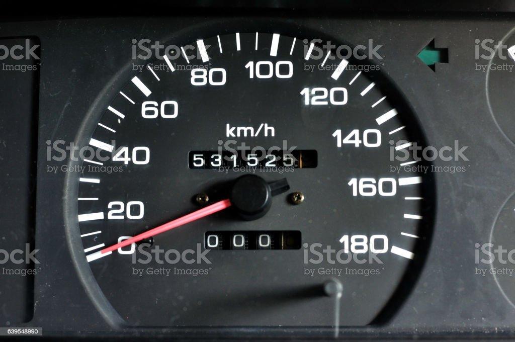 Vehicle speed meter of pick up, speed engine. stock photo