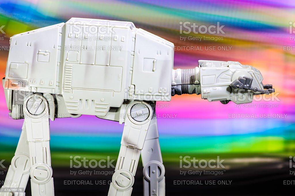 AT-AT vehicle starfighter spaceship toy from Star Wars saga movie stock photo