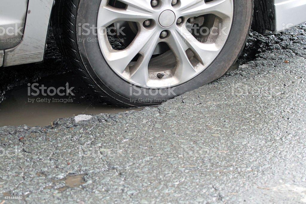 Vehicle Tire Hitting A Pothole On A City Street stock photo
