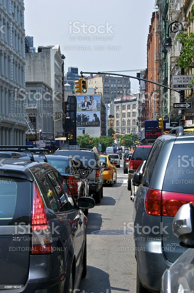 Vehicle traffic backed up in SoHo, Manhattan, New York City stock photo