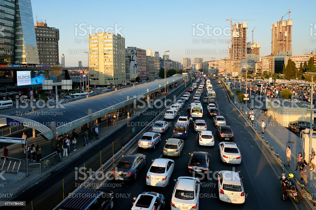 Vehicle traffic in , Istanbul, Turkey. stock photo