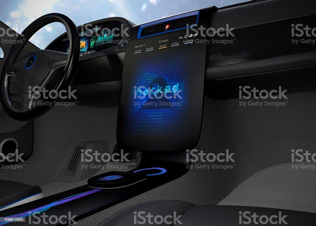 Vehicle under hacked stock photo