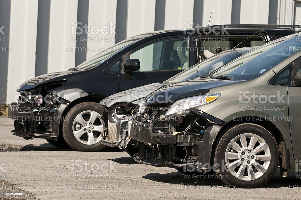 Vehicles at Bodyshop stock photo