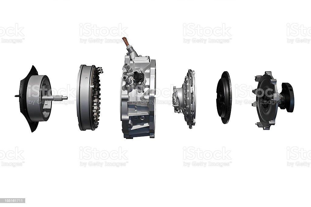 Vehicle's engine displayed taken apart stock photo