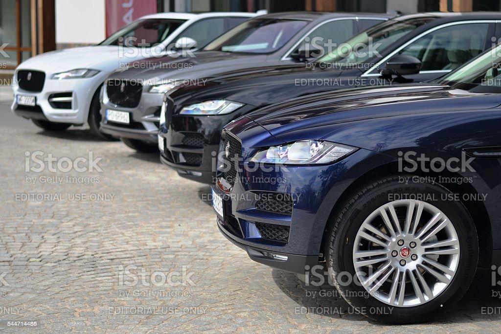 SUV vehicles from Jaguar stock photo