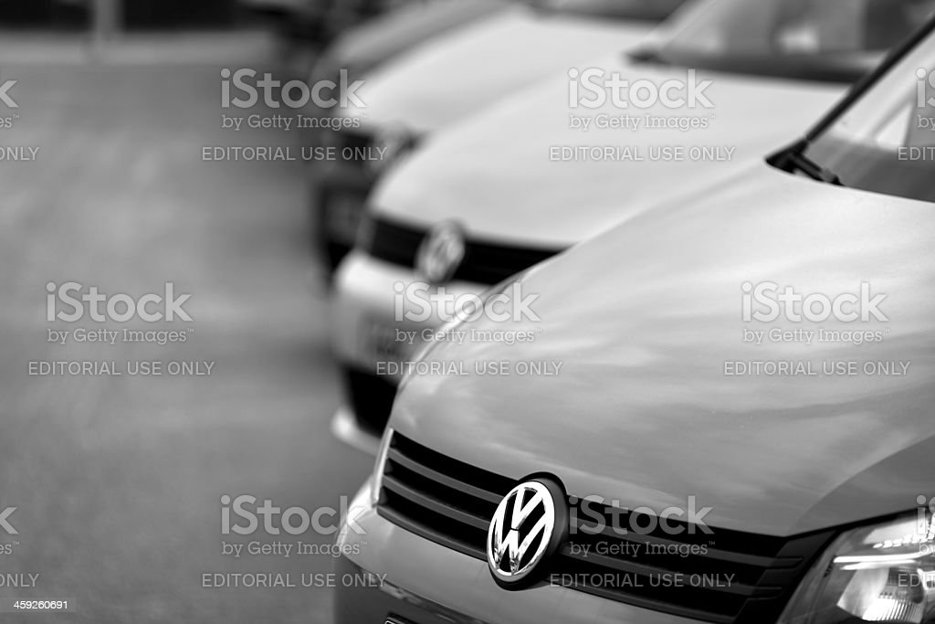 VW vehicles in a row stock photo
