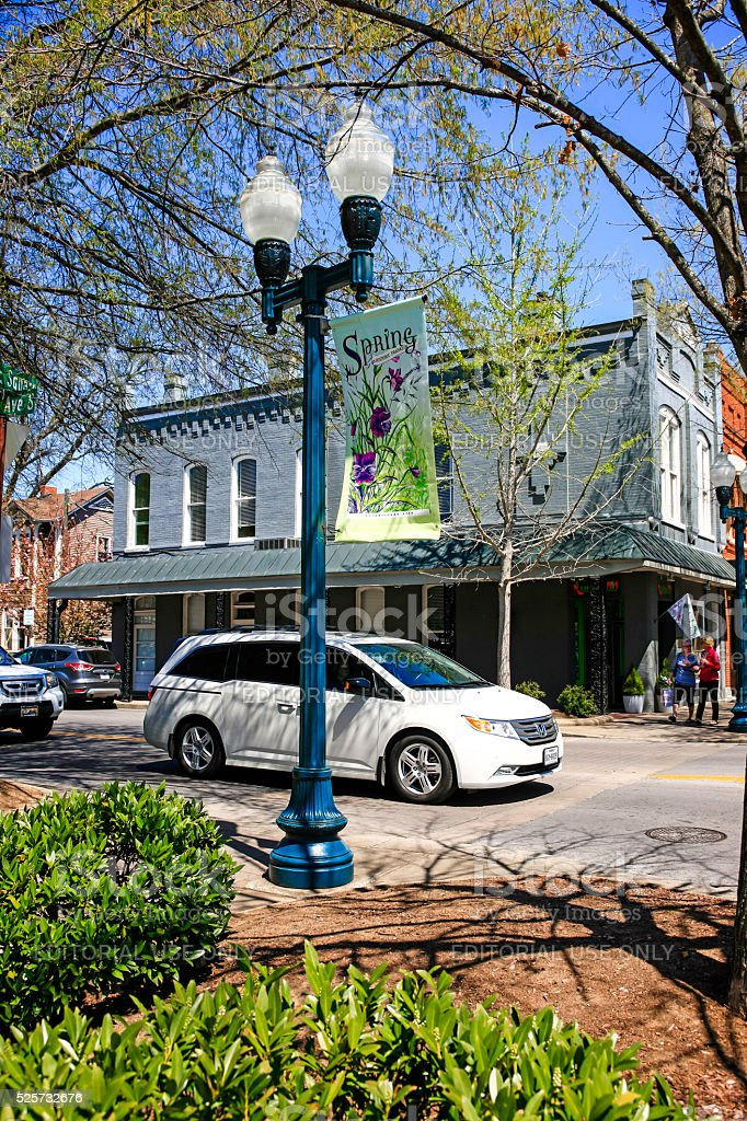 Vehicles on 3rd near the public square in Franklin, Tennessee. stock photo