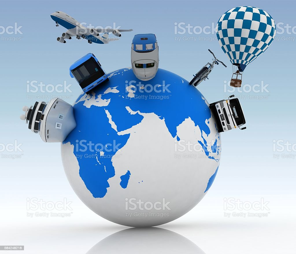 Vehicles on a globe. Concept of international tourism. stock photo
