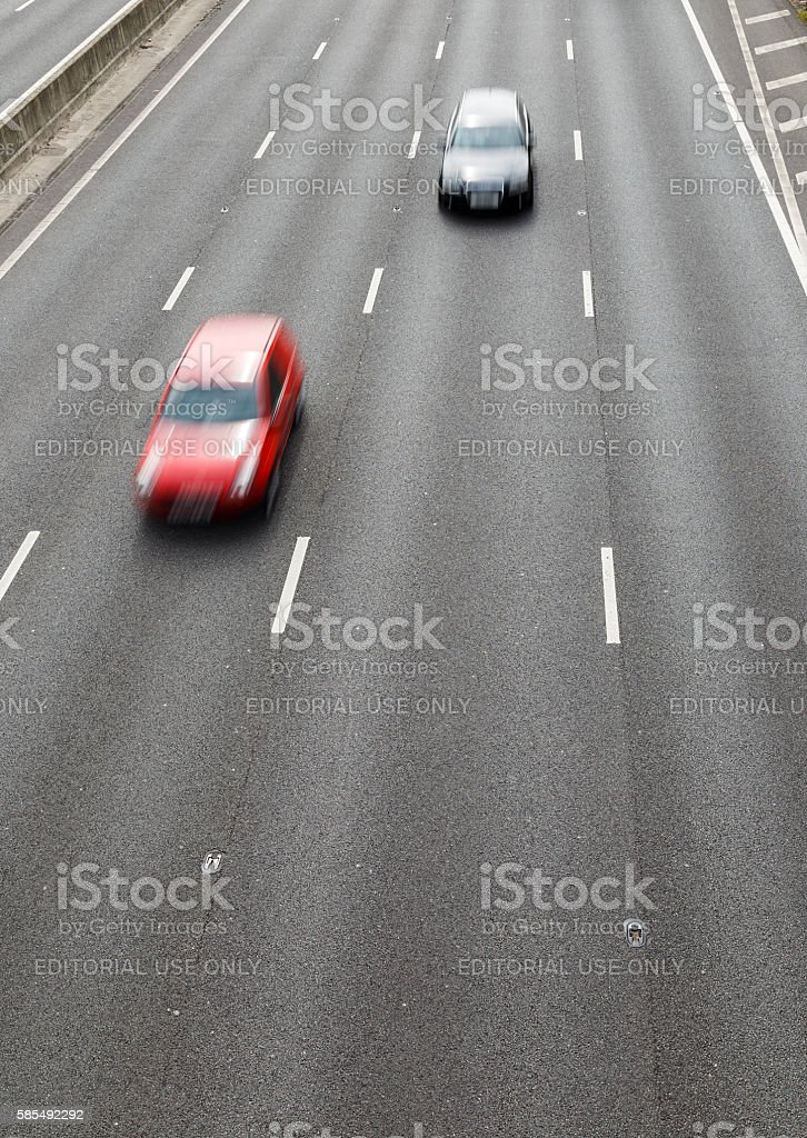 2 vehicles on the 4-lane section of the M1 motorway stock photo