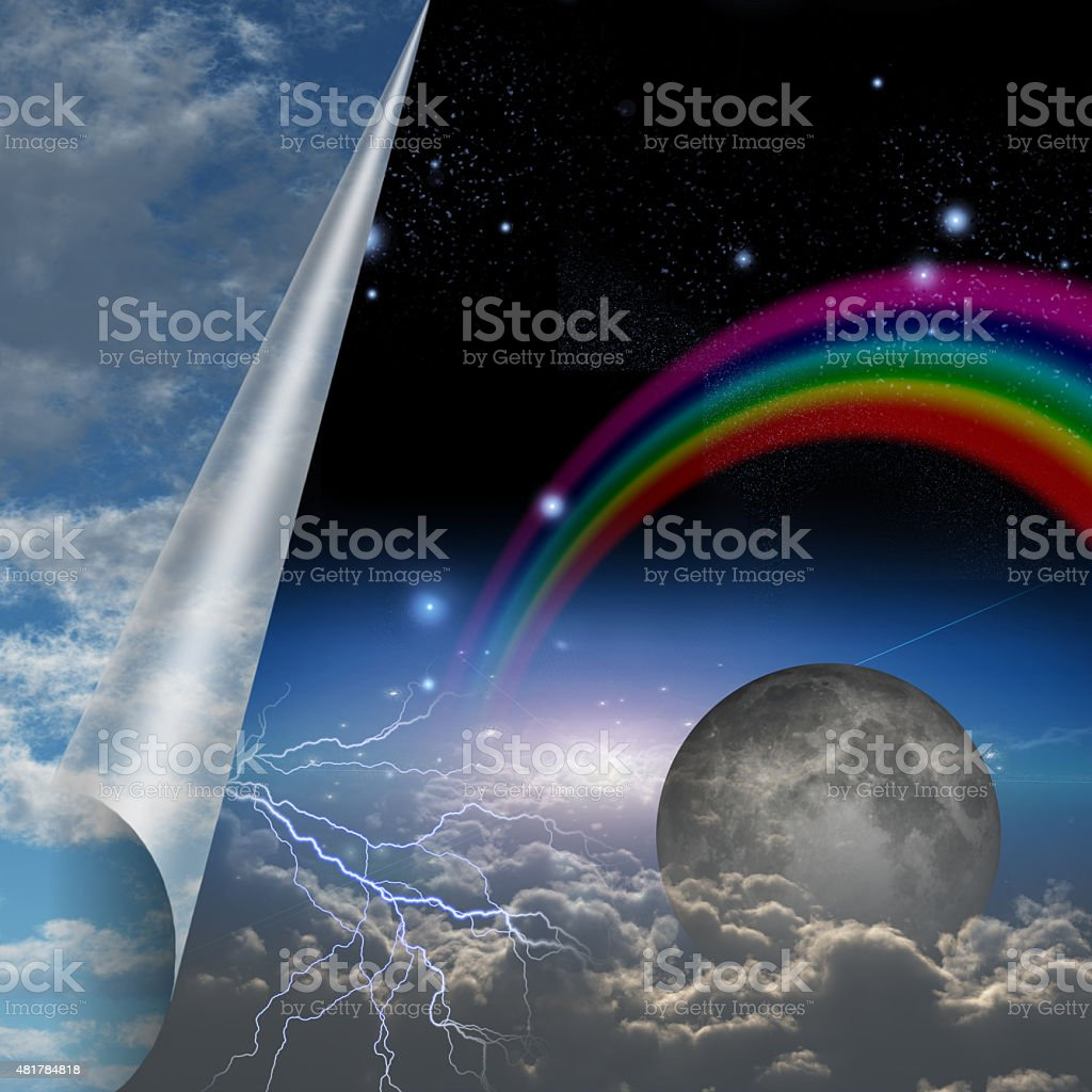 Veil of sky pulled open to reveal other stock photo