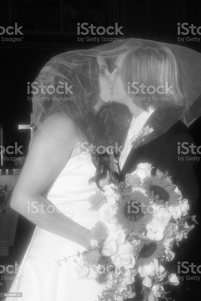 Veiled kiss royalty-free stock photo