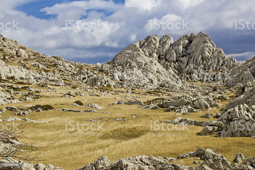 Velebit mountain landscape near Tulove Grede stock photo