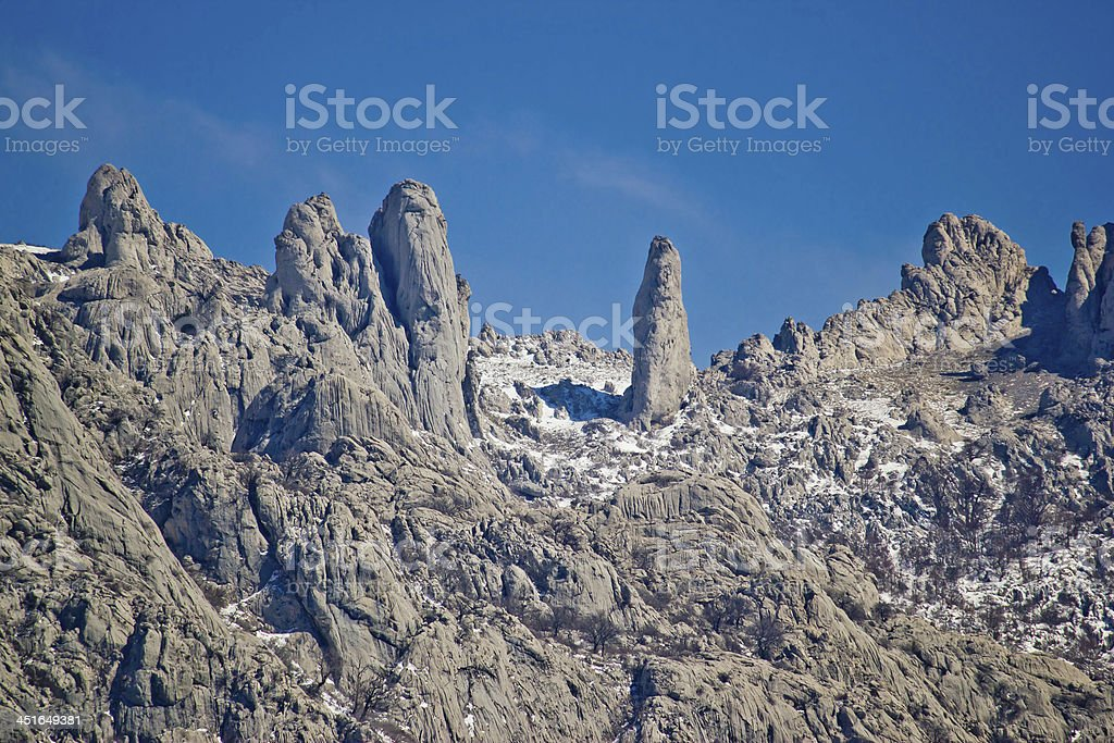 Velebit mountain national park stone sculptures stock photo