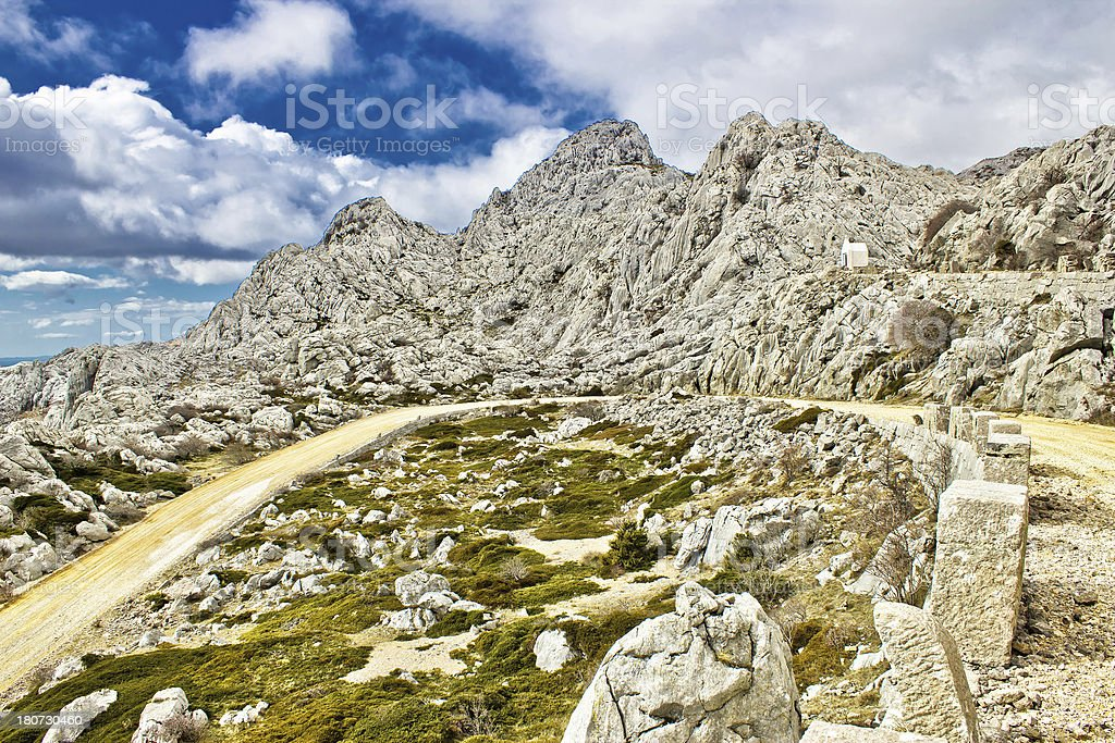 Velebit mountain road serpentine near Tulove grede stock photo