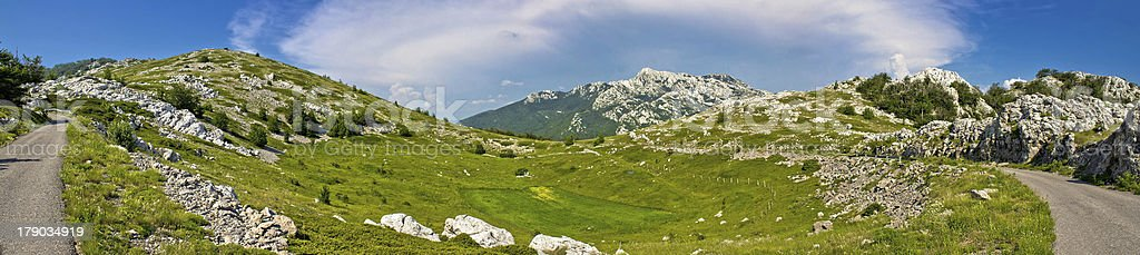 Velebit mountain wilderness panoramic view stock photo