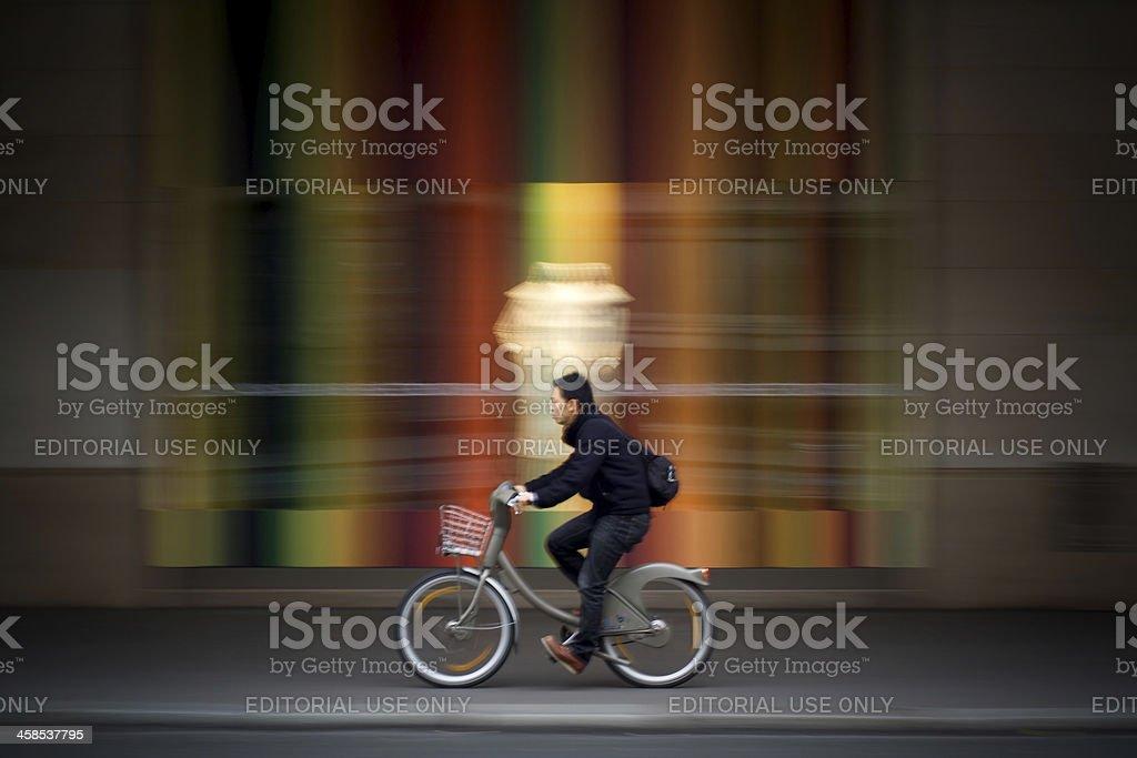 Velib bicycle in motion stock photo