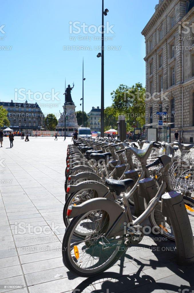 Velib bicycle stand Paris stock photo