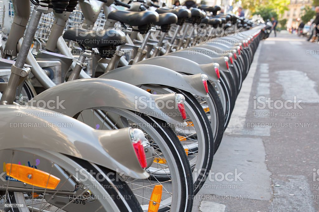 Velib bicycle station in Paris, France stock photo
