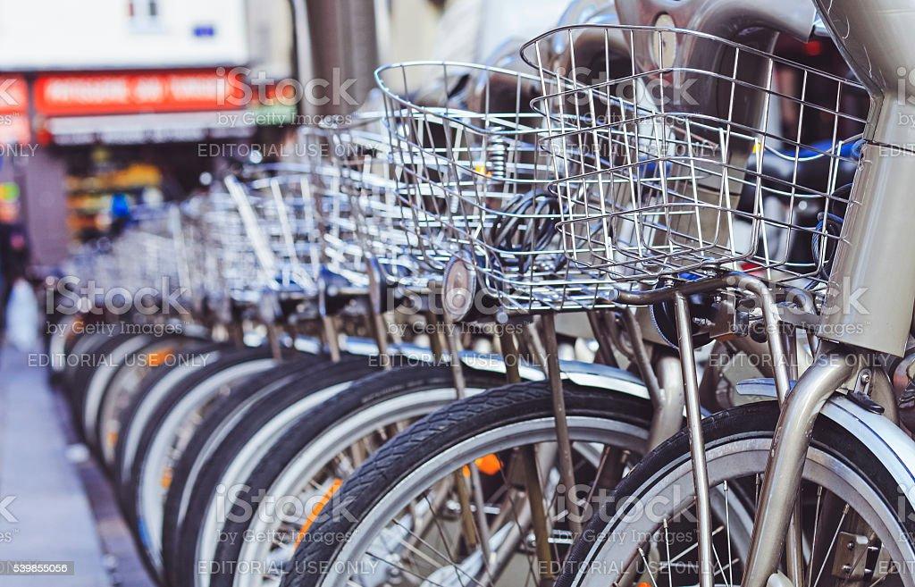 Velib bicycles in Paris stock photo