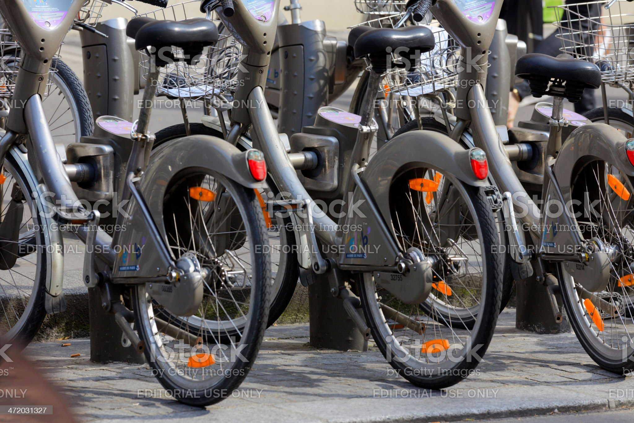 Velib bikes, a public bicycle sharing system in Paris royalty-free stock photo