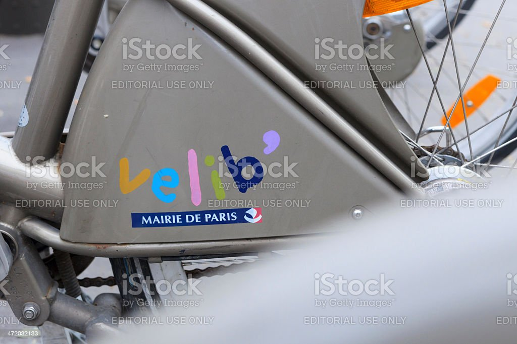 Velib bikes, a public bicycle sharing system in Paris stock photo
