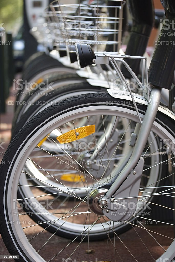 Velib Bikes - City Hire Bicycles Parked In Row royalty-free stock photo