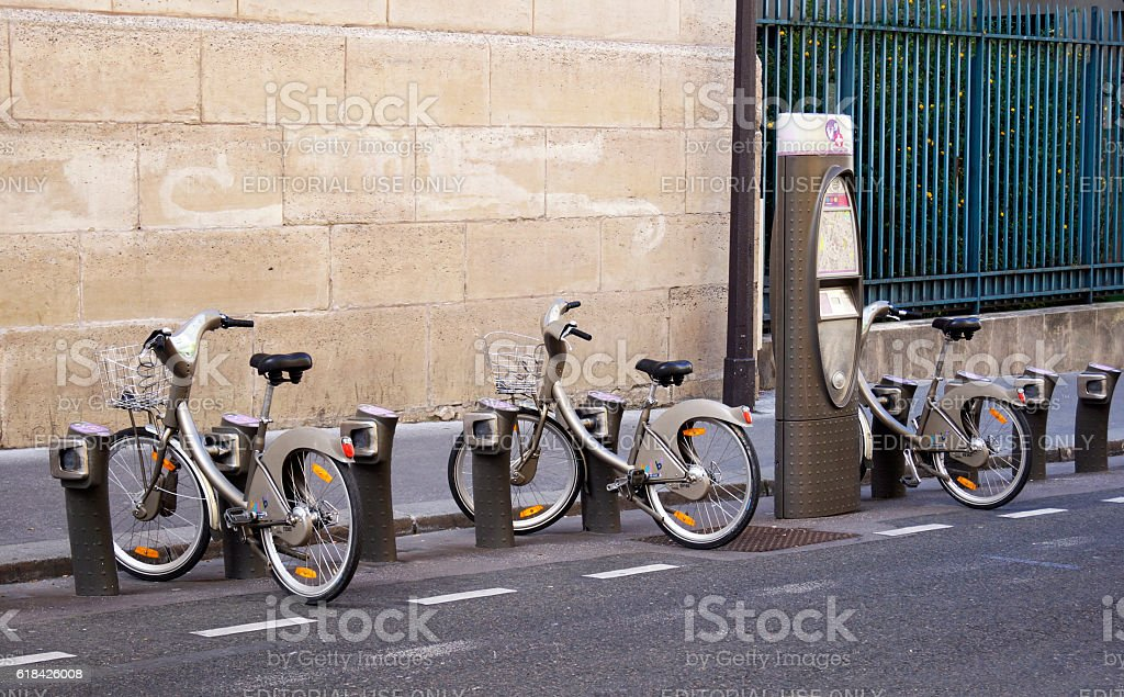 Velib bikes in Paris stock photo