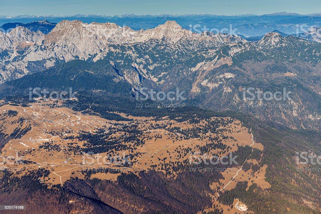 Velika Planina from the air, background Kamniško Savinjske Alpe,Slovenia stock photo