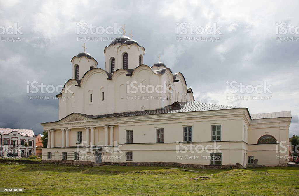 Veliky Novgorod. St. Nicholas Cathedral of the 12th century. stock photo