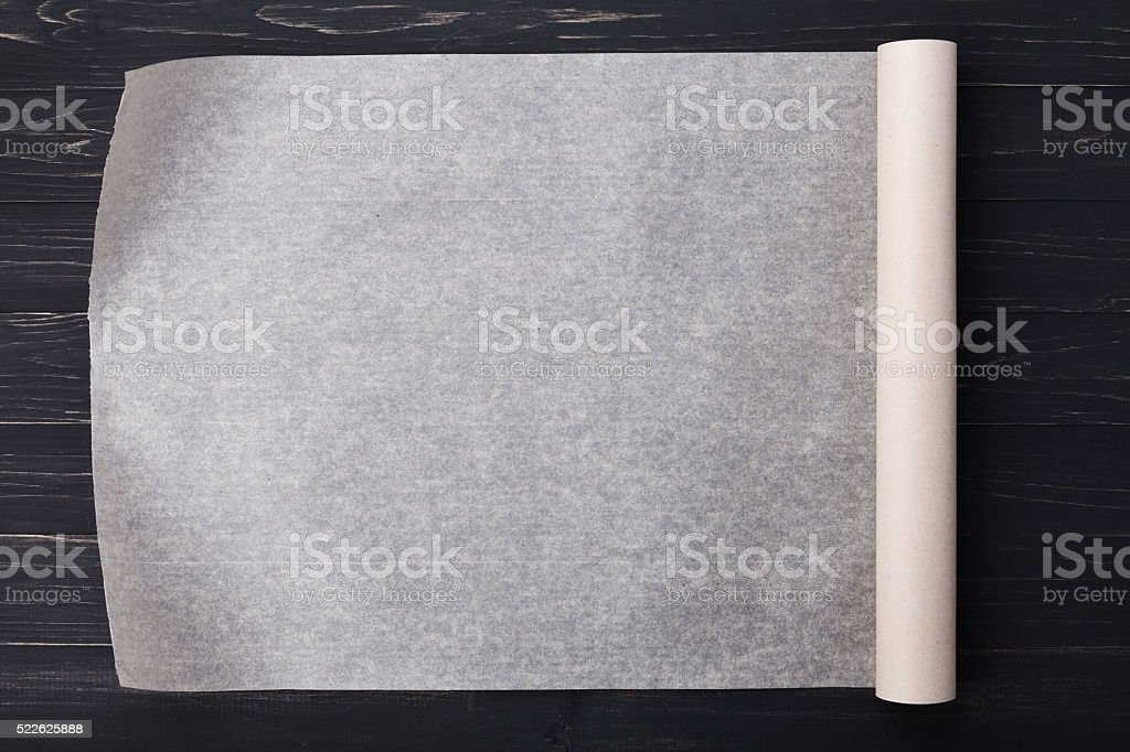 Vellum, parchment or baking paper for menu or recipes stock photo