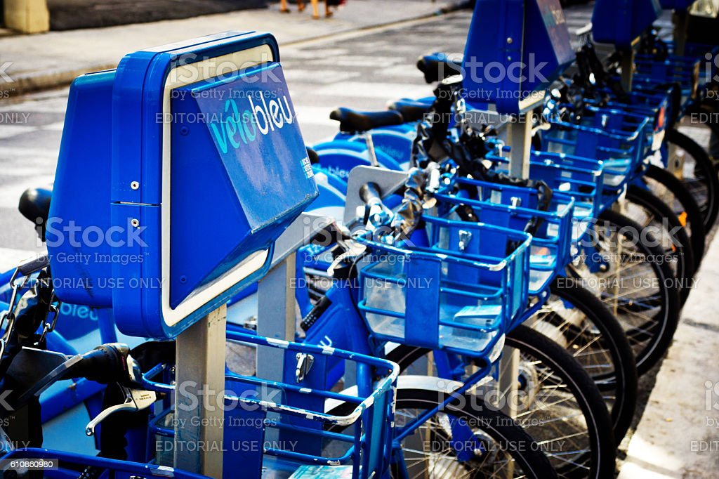 Velobleu bikes for hire in Nice,France stock photo