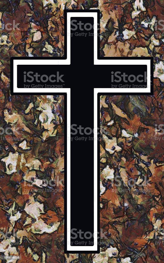 Velvet Blossom Christian Cross royalty-free stock photo