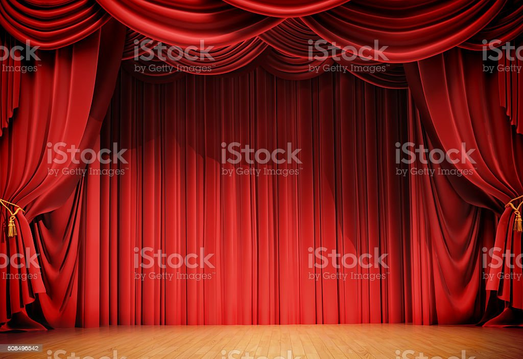 velvet curtains and wooden stage floor stock photo