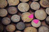 Velvet heart on Valentine's Day on a wooden background
