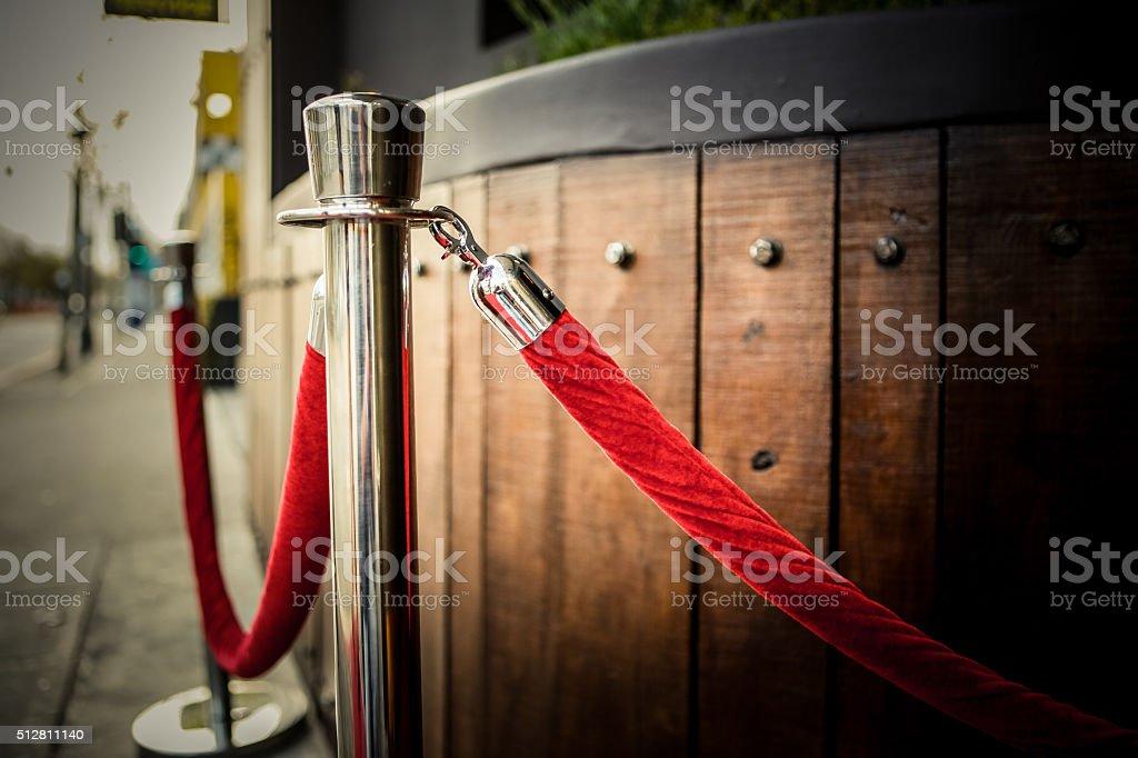 Velvet Red Carpet Rope Barrier stock photo