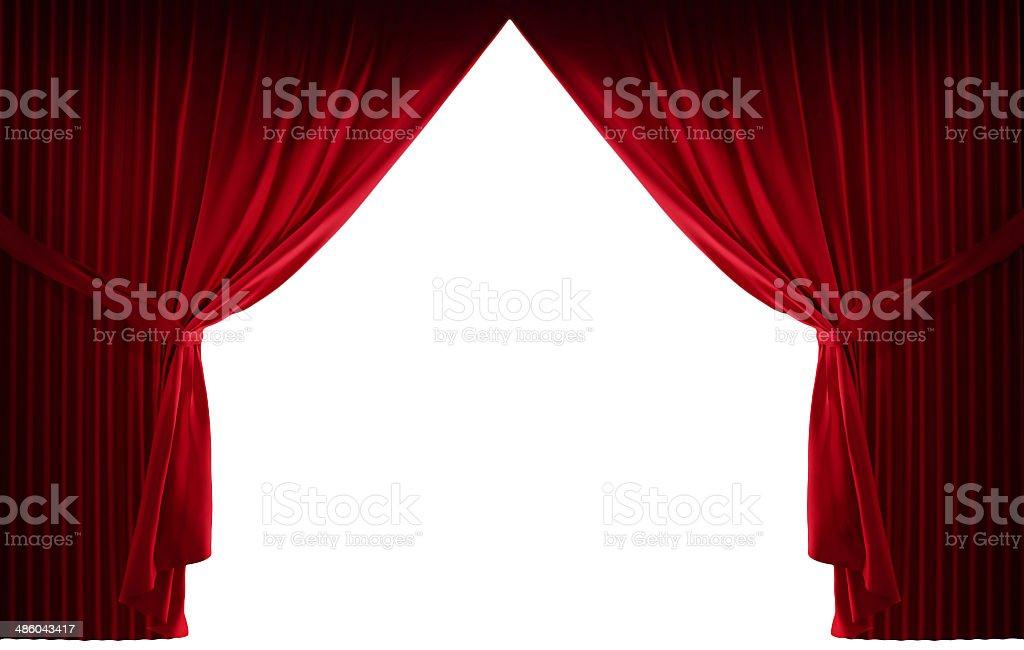 Velvet red courtain stock photo
