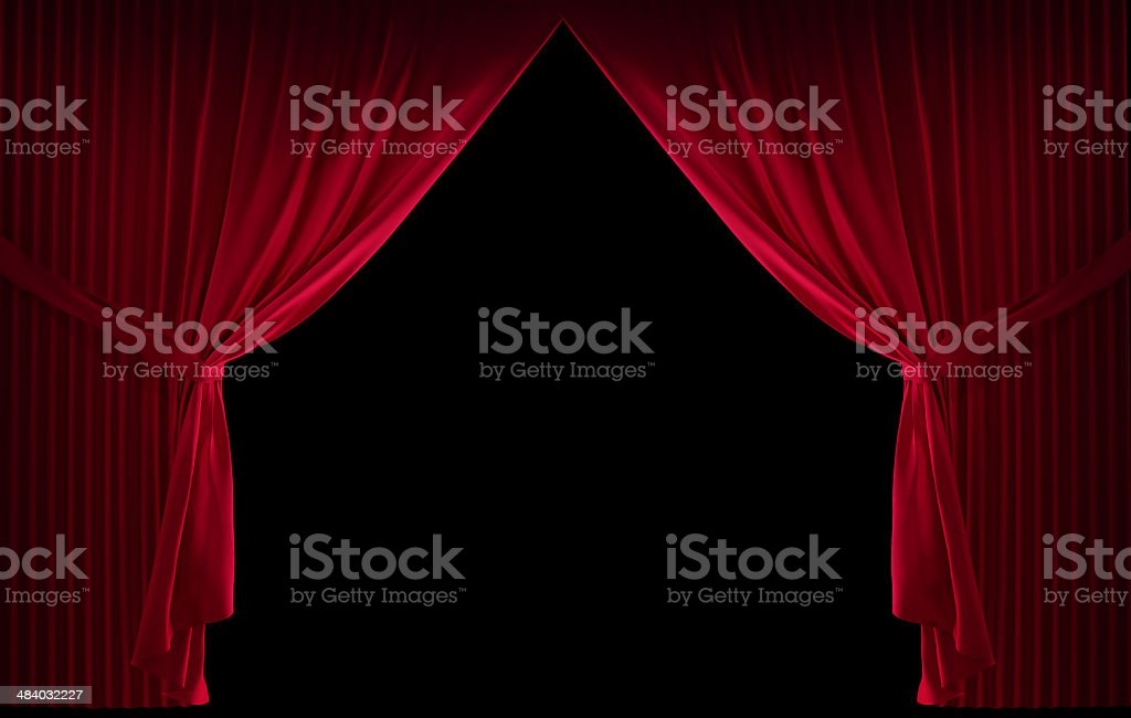 Velvet red curtain stock photo