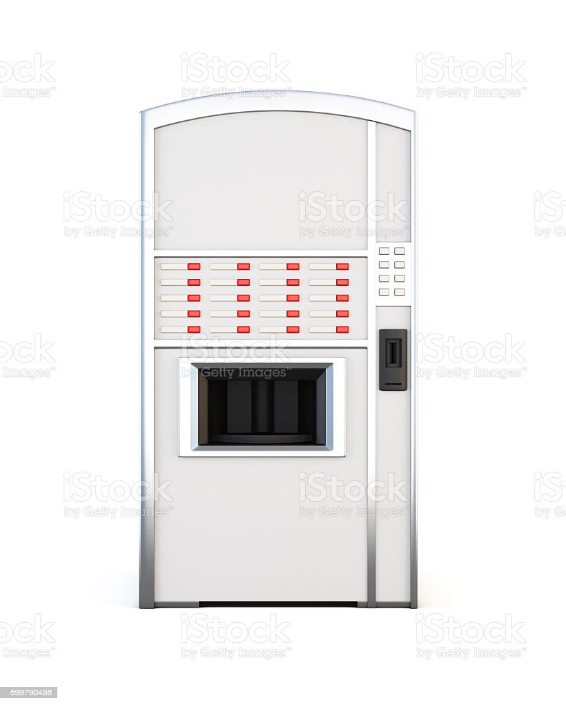 Vending machine selling drinks and snacks on a white background. stock photo