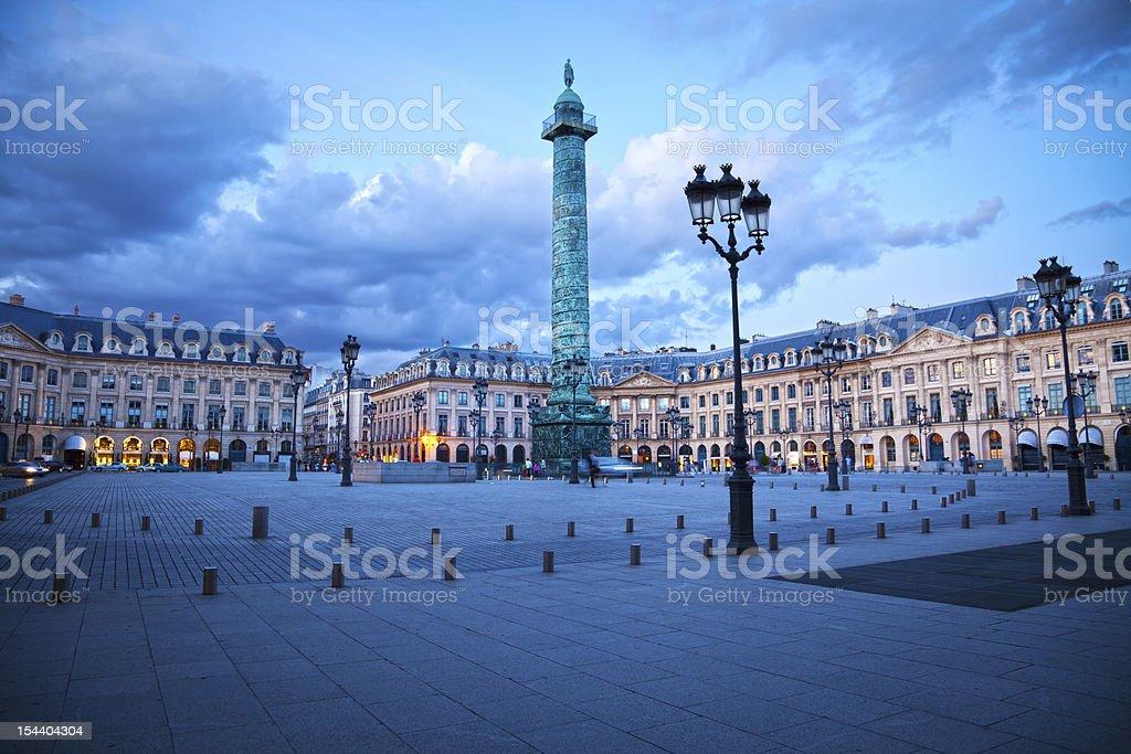 Vendôme square of Paris at twilight royalty-free stock photo