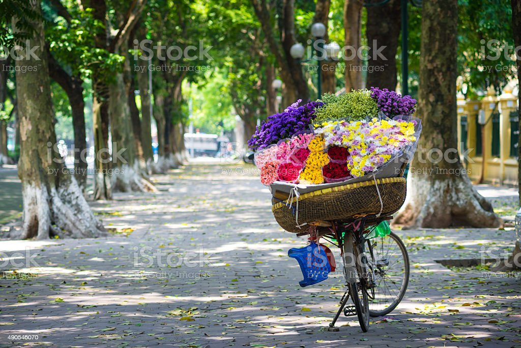 Vendor bicycle of flowers stock photo