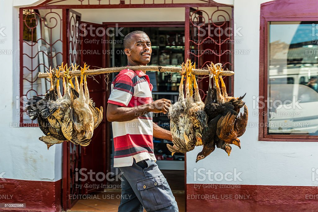 Vendor, Hell Ville, Nosy Be, Madagascar stock photo