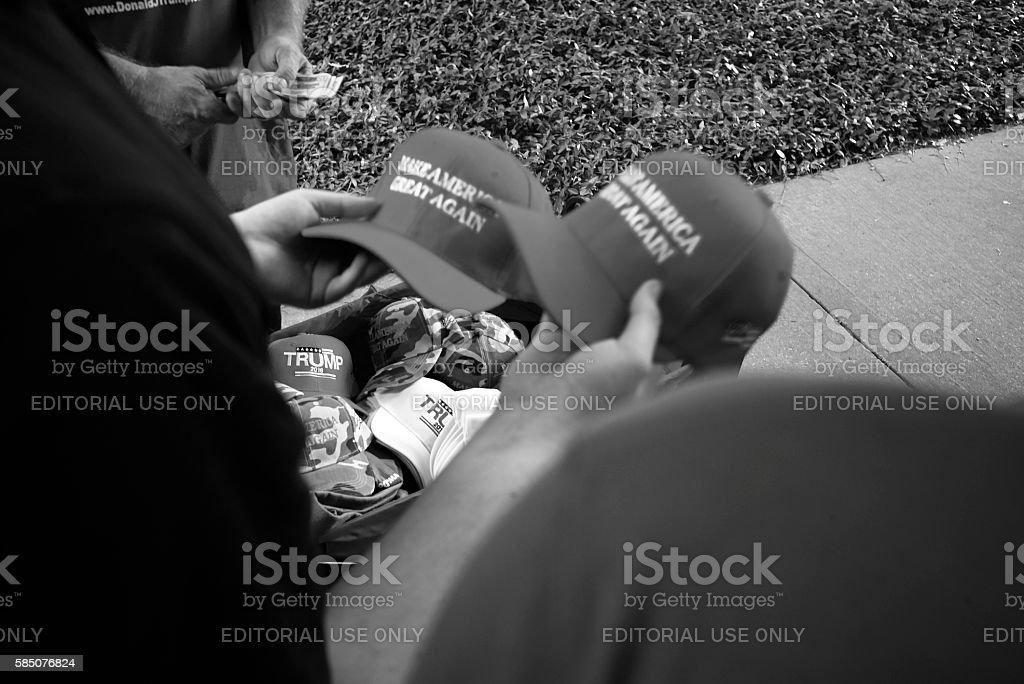 Vendor Holding Donald Trump Hats stock photo