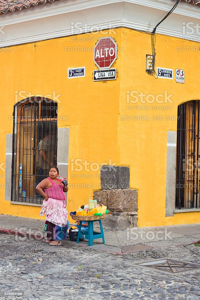 Vendor in Antigua Guatemala stock photo
